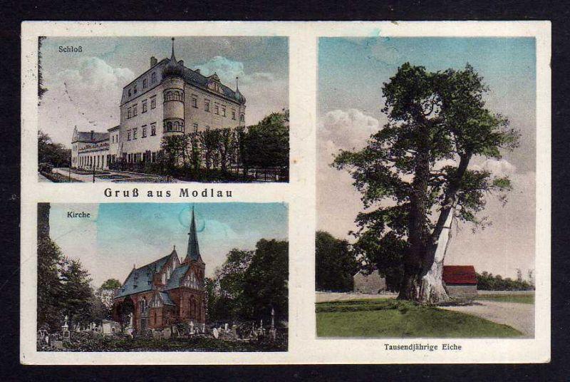 Ansichtskarte Modlau bei Haynau Schlesien Modla um 1920 Kirche Schloß tausendjährige