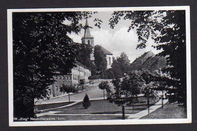 Ansichtskarte Neumittelwalde Schlesien RIng Kirche 1938