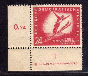 DDR 1951 281 DZ Druckereizeichen ** Oberhof allseits durchgezähnt