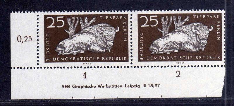 DDR 555 XI Tierpark Berlin Wisent Bison 1956 postfrisch Druckvermerk DV ohn