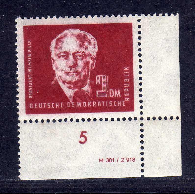 DDR 1950 254a 1.- Pieck ** DV Druckvermerk