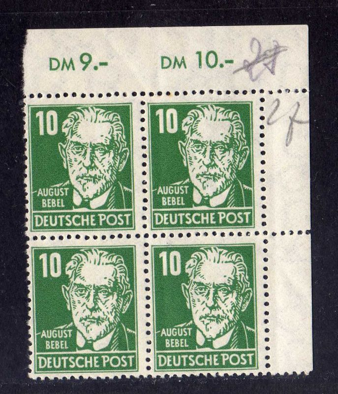 DDR DDR 1952 Köpfe II 330 za XII ** Eckrand Viererblock Ecke 2