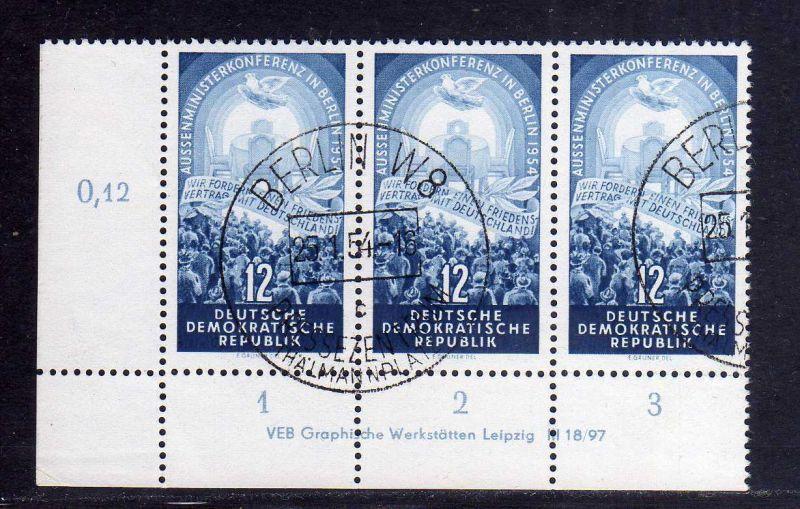 DDR 424 Aussenministerkonferenz 1954 gestempelt mit Druckvermerk DV + Platt