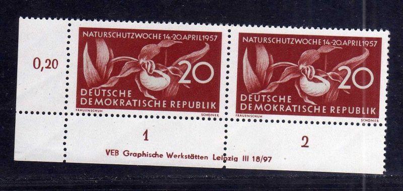 DDR 563 Naturschutzwoche 1957 postfrisch Druckvermerk DV