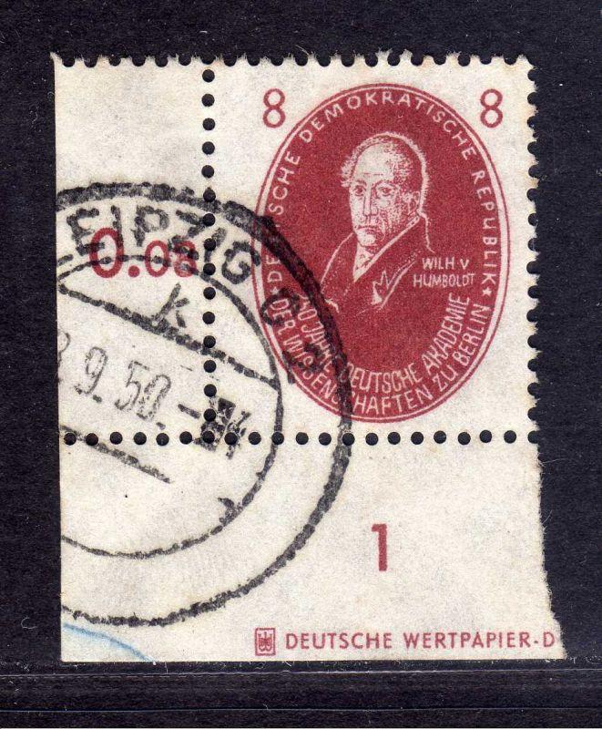 DDR 1950 264 Akademie 8 Pfg. Humboldt  gestempelt Teil DZ Druckereizeichen
