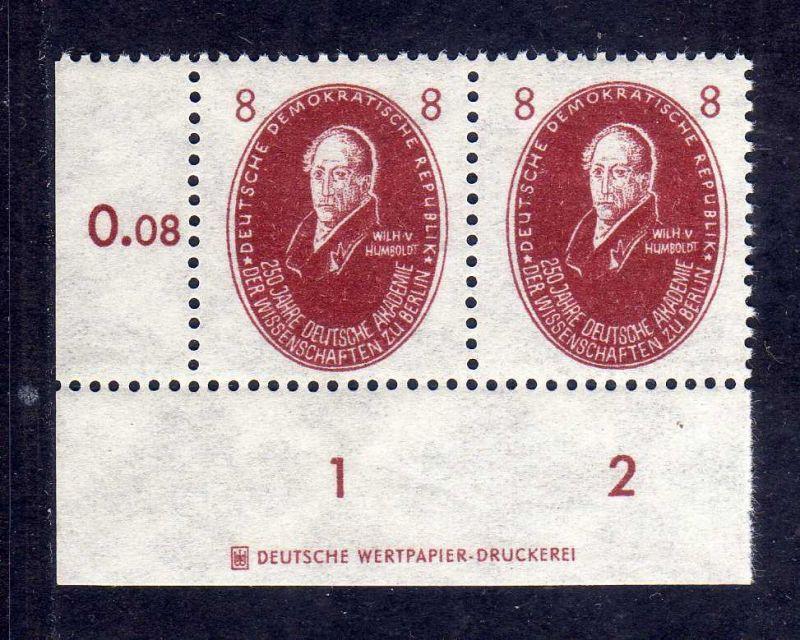 DDR 1950 264 Akademie 8 Pfg. Humboldt  * DZ Druckereizeichen