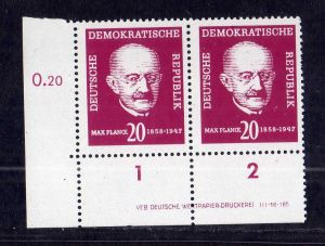 DDR 1958 627 Max Planck ** DV ungefalten nicht angetrennt Zähnungsvariante