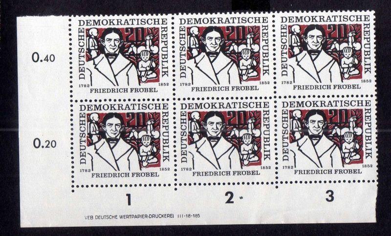 DDR 565 Friedrich Fröbel 1957 postfrisch Druckvermerk DV