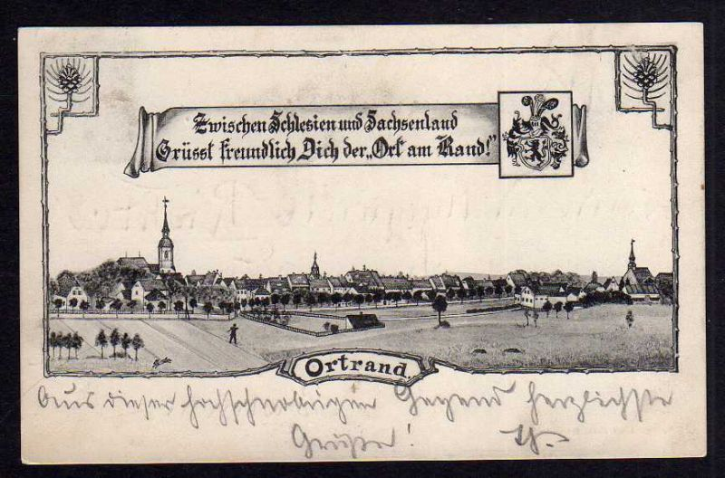 Ansichtskarte Ortrand 1908 Bahnpost Frankfurt O.- Priestewitz
