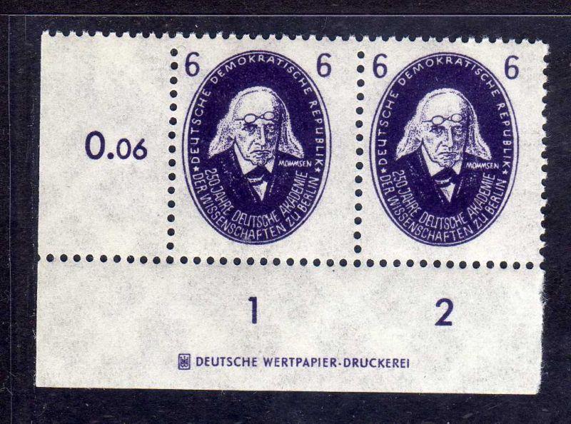 DDR 1950 263 Akademie 6 Pfg. ** Mommsen DZ Druckereizeichen