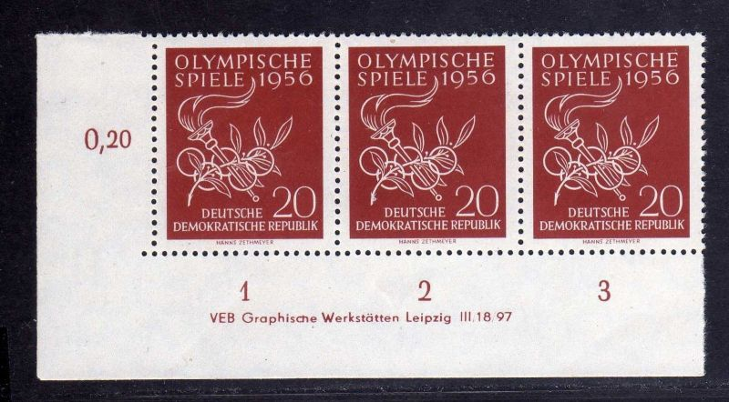 DDR 539 Olympische Spiele 1956 postfrisch Druckvermerk DV Zähnungsvariante