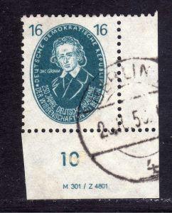 DDR 1950 267 16 Pfg. Akademie Jacob Grimm gestempelt DV Druckvermerk