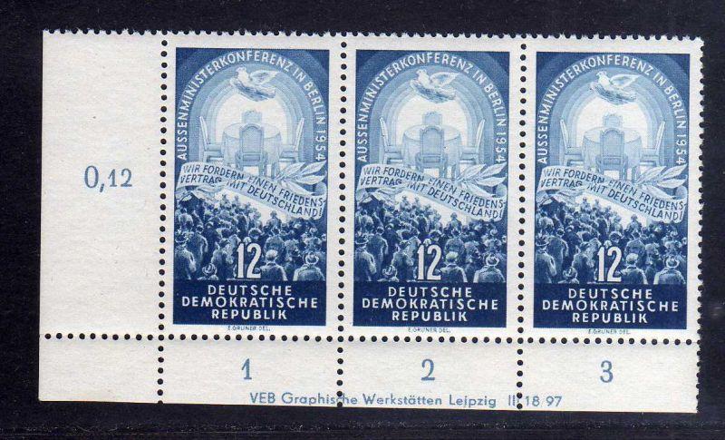 DDR 424 Aussenministerkonferenz 1954 postfrisch mit Druckvermerk DV