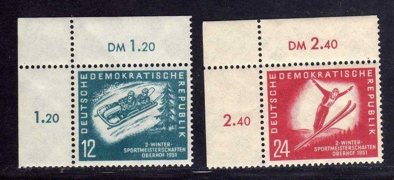 DDR 1951 280 281 je Bogenecke oben links ** Oberhof allseits durchgezähnt 0