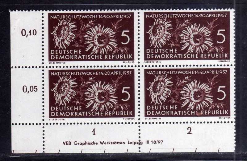 DDR 561 Naturschutzwoche 1957 postfrisch Druckvermerk DV