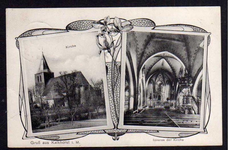 Ansichtskarte Kalkhorst Meckl. 1910 Kirche + Inneres der Kirche