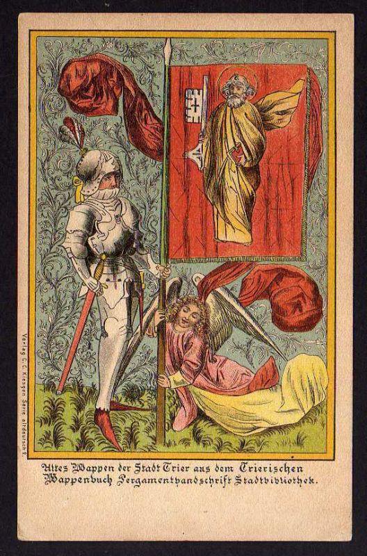 Ansichtskarte Trier Litho Wappen Wappenbuch Stadtbibliothek