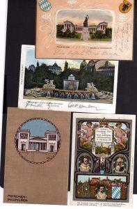 4 Ansichtskarte München geprägt Bavaria Propyläen Wittelsbacher Brunnen 1899 1910