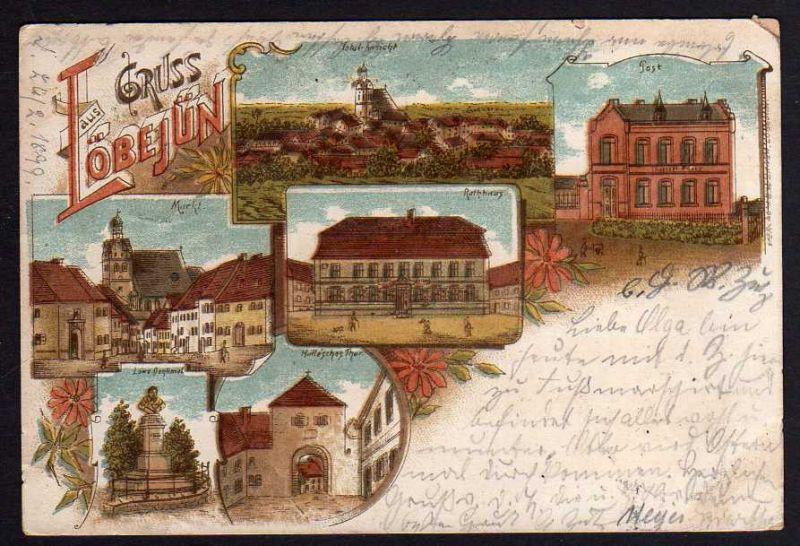 Ansichtskarte Löbejün Post RathausMarkt Hallesches Tor 1899