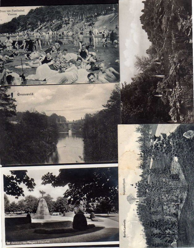 5 Ansichtskarte Berlin Wannsee Lankwitz Grunewald Lichterfelde Lilienthal Denkmal