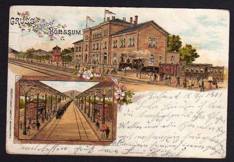 Ansichtskarte Börßum Börssum Litho 1901 Bahnhof Gleise Gleisseite