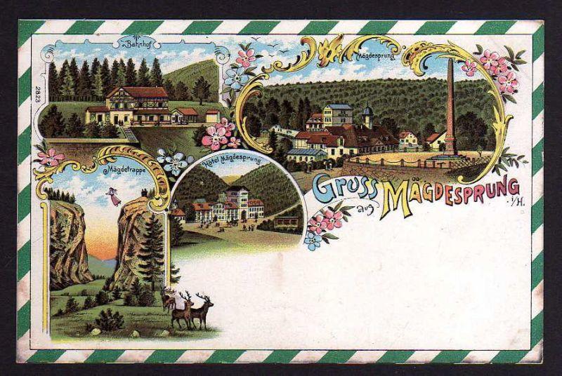 Ansichtskarte Mägdesprung Harzgerode Litho um 1900 Bahnhof Hotel Denkmal