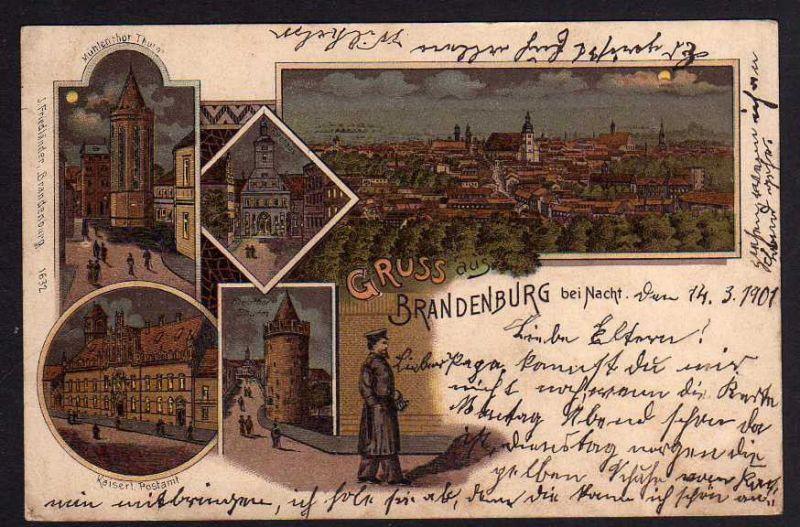 Ansichtskarte Brandenburg bei Nacht Litho 1901 Postamt Nachtwächter Rathaus