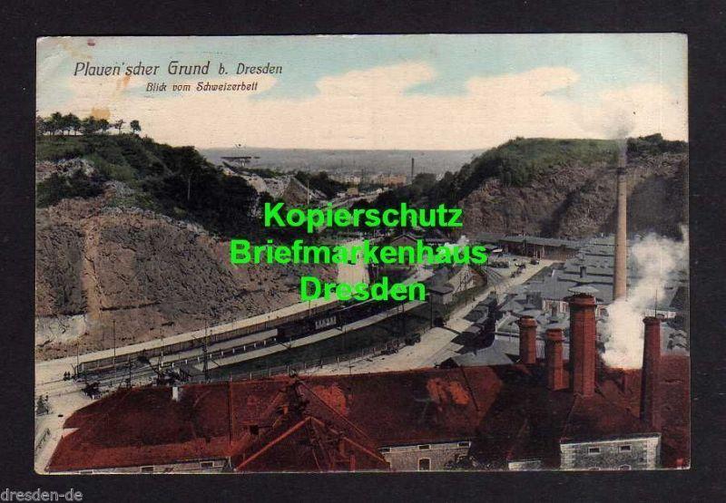 Ansichtskarte Plauenscher Grund bei Dresden Bahnhof 1912 Blick vom Schweizerbett