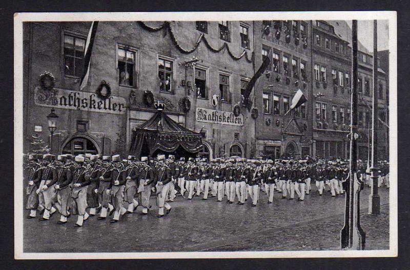 Ansichtskarte Freiberg Ratskeller Letzte große Bergparade 1905 Bergmaurer Häuer