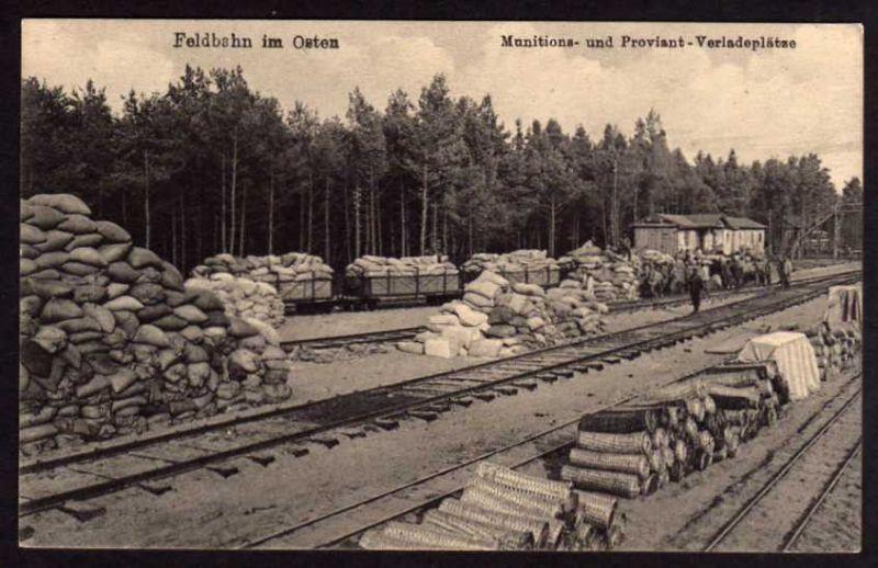 Ansichtskarte Feldbahn Osten Munition Proviant Verladeplat
