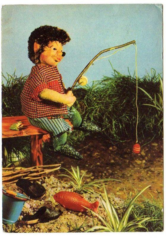 Ansichtskarte Kinderfernsehen d. DDR Igel Angler Angeln 0