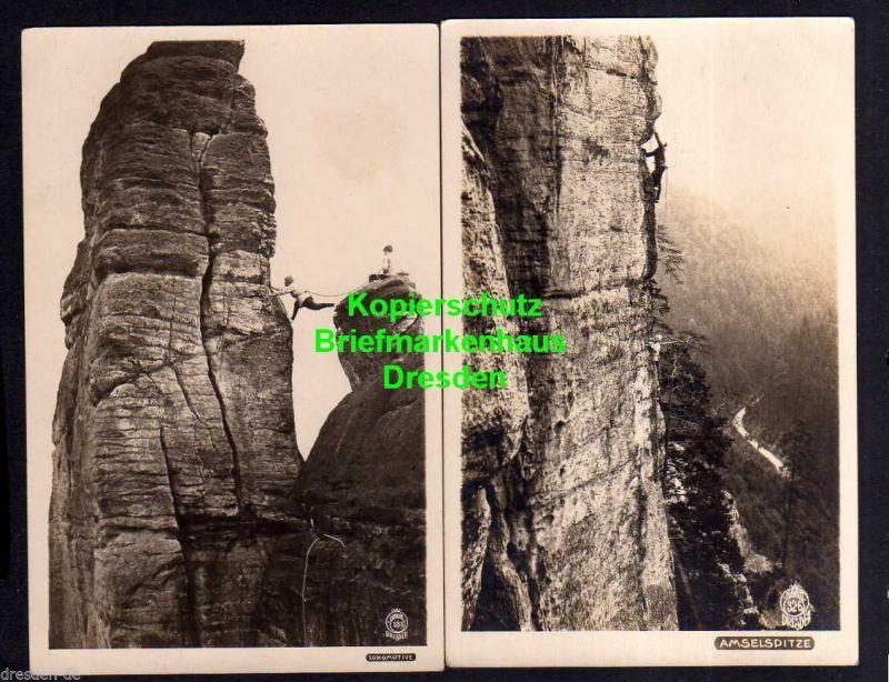 2 Ansichtskarte Sächsische Schweiz Kletterer Amselspitze Lokomotive Hahn Foto 326 35