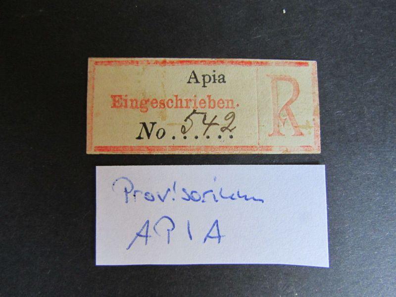Kolonien Einschreiben R Zettel Samoa Provisorium Apia Eingeschrieben No. 54