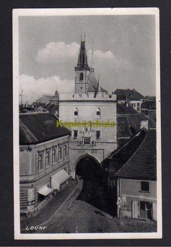 Ansichtskarte Louny Laun 1944 Fotokarte Kirche Stadttor Böhmen & Mähren