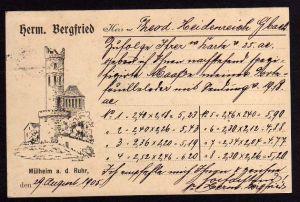 Ansichtskarte Mühlheim Ruhr Herm. Bergfried 1905 Turm