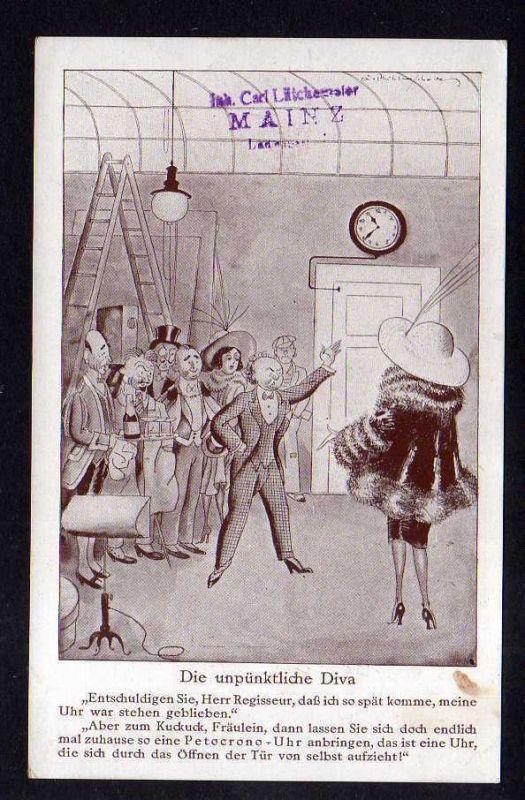 Ansichtskarte Die unpünktliche Diva Werbung Petocrono Uhr Mainz   <p> Irokese Tradin