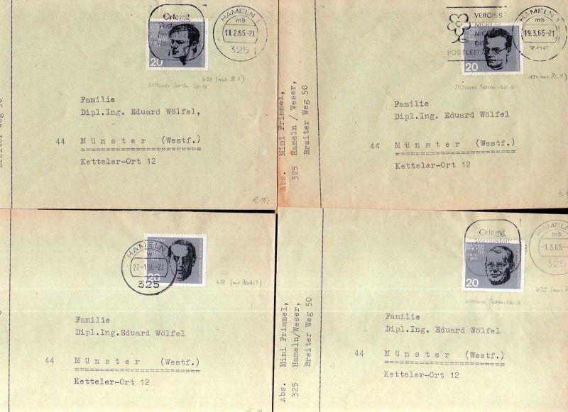 4x BRD Brief 1965 Marken aus Block 3 433 437 434 438 Stauffenberg Delp Mo