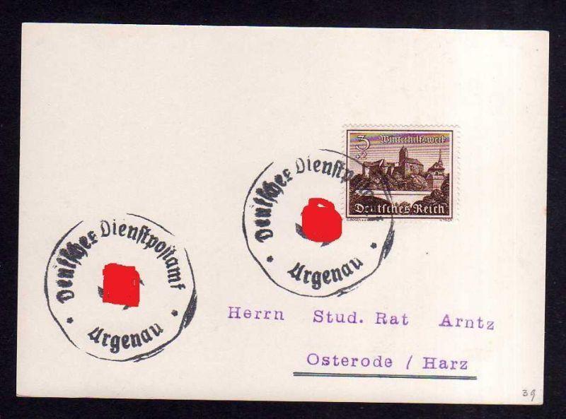 Karte Argenau Deutsche Dienstpost Notstempel 1939