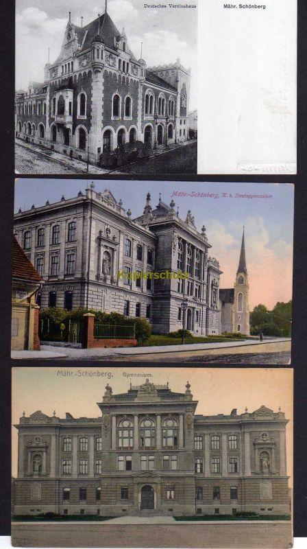 3 Ansichtskarte Mährisch Schönberg Sumperk Staatsgymnasium Dt. Vereinshaus um 1910