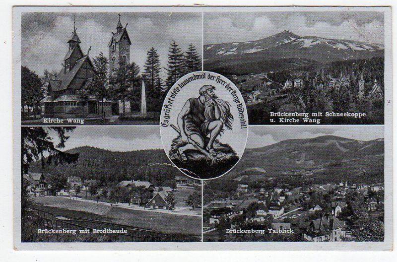 Ansichtskarte Kirche Wang Rübezahl Riesengebirge Brückenberg Brotbaude