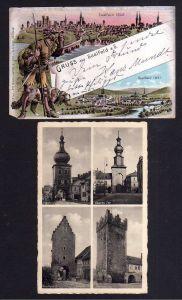 2 Ansichtskarte Saalfeld Litho 1898 Ritter mit Hund Blick auf Panorama von 1640 und