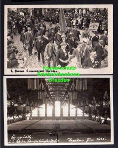 2 Ansichtskarte Dresden 1925 Sänger Bundesfest Fotokarte festhalle Innenansicht Fest