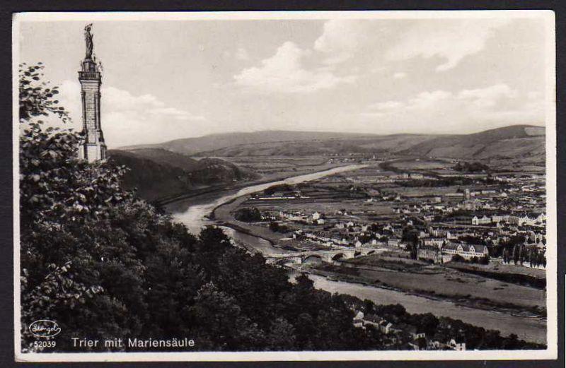 Ansichtskarte Trier mit Mariensäule 1934