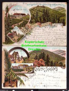 2 Ansichtskarte Inselsberg Litho 1900 Restaurant Preussischer Gasthof Gothaisches H