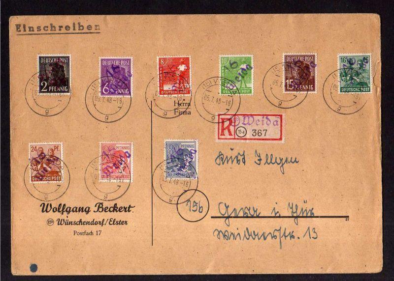 h1974 Handstempel Bezirk 16 Weida Brief Einschreiben 5.7.48 9 Werte davon 2 Pfg.