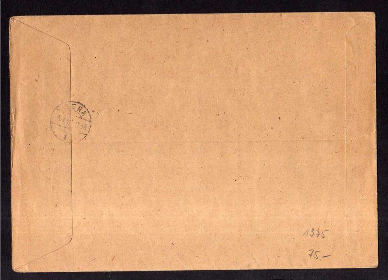 h1974 Handstempel Bezirk 16 Weida Brief Einschreiben 5.7.48 9 Werte davon 2 Pfg. 1