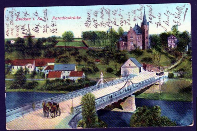 Ansichtskarte Zwickau Paradiesbrücke 1913