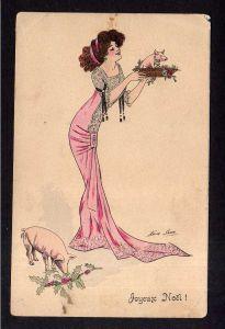 Ansichtskarte Neujahr Künstlerkarte Xavier Sager Frau im langen Kleid Glücksschwein