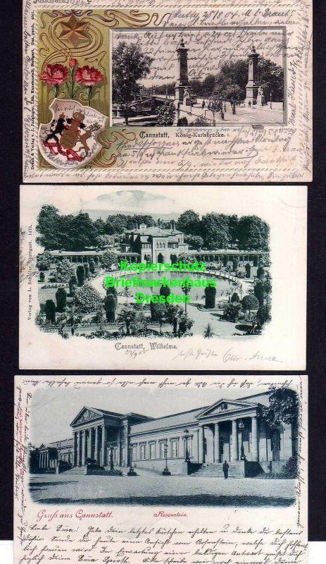 3 Ansichtskarte Cannstatt König Karlsbrücke 1904 Wilhelma 1900 Rosenstein 1901