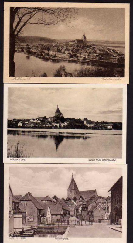 3 Ansichtskarte Mölln Lauenburg Mühlenplatz Totale